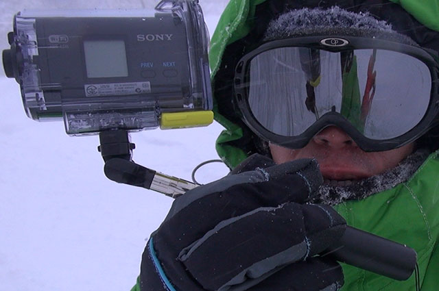 HDR-AS15+xshotでスノーボードゲレンデ撮影テスト