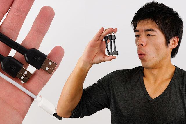 たった10cm超短いスマホ用ケーブル各種(Android用、iPhone用)